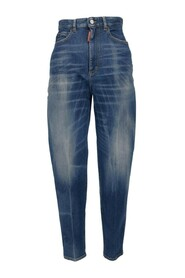 High-rise distressed-effect skinny jeans