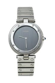 Pre-owned Stainless Steel Santos Round Wristwatch