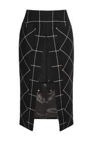 Twill-Paneled Checked Skirt