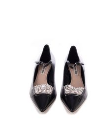 Embellished Leather Kitten Heel Pumps