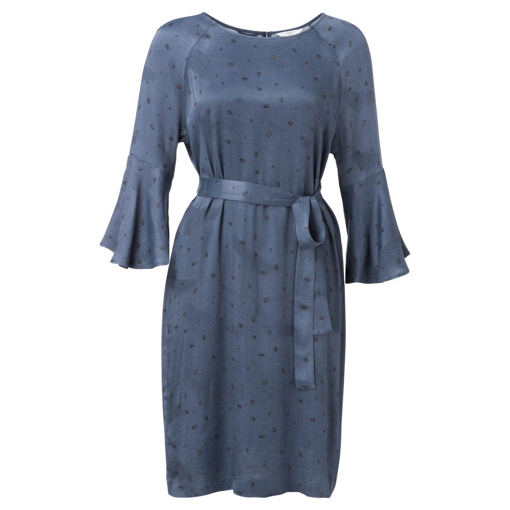 BELTED DRESS WITH TRUMPET SLEEVES AND ALLOVER DOT PRINT