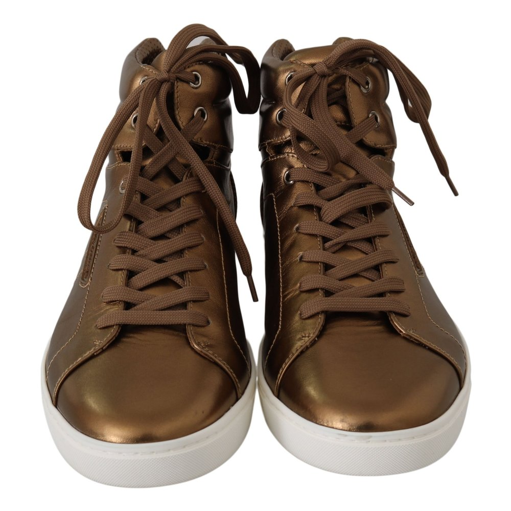 Gold Leather Mens High Top Sneakers   Dolce & Gabbana   Sneakers   Men's shoes