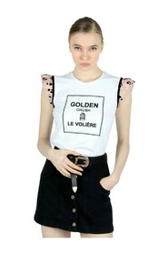 T-shirt con manica in tulle