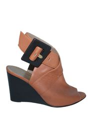 Leather Brown Wedges with Big Buckle