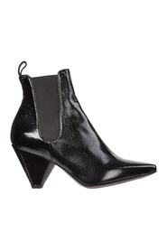 Leather heel ankle boots