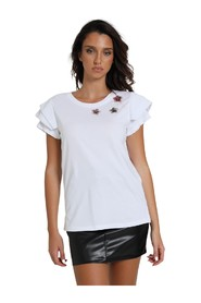 T-SHIRT WITH FLOUNCE SLEEVES AND FLOWER APPLICATIONS