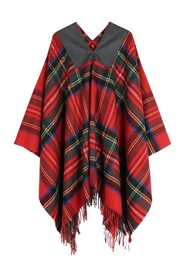 FRANSAD EDGE PLAID PONCHO