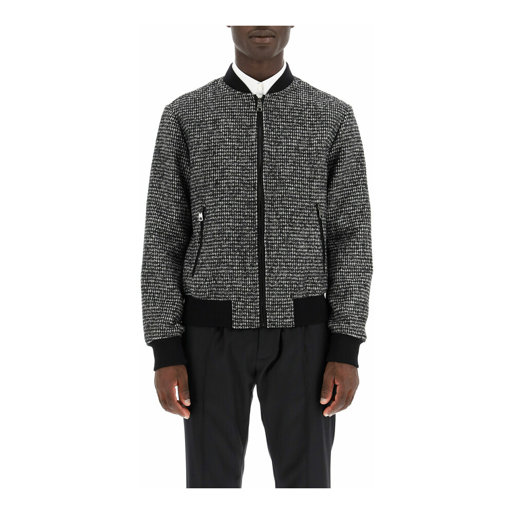 micro houndstooth bomber jacket