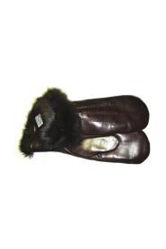 Varm og behagelig handske med kaninpels-mørk brun