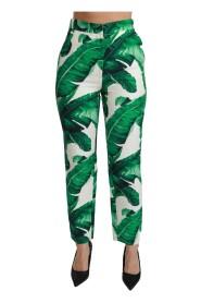 Banana Leaf High Waist Slim Trousers