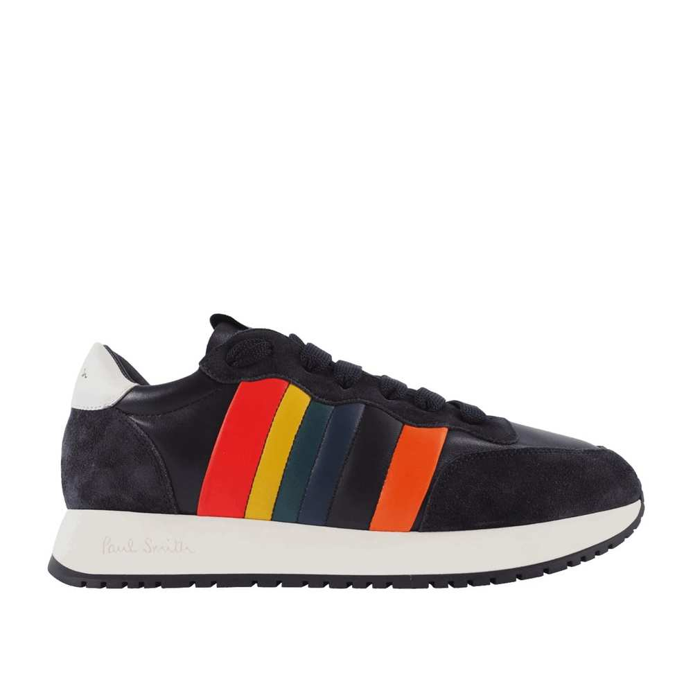 Mænds Dark Navy 'Stitch' Rainbow Trim Trainers