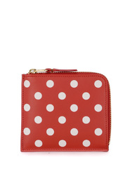 Wallet red polka dot leather wallet