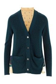 Fine knitted cardigan with paisley print