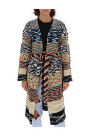 patterned knit longline cardigan
