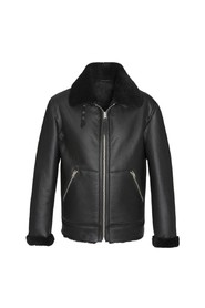 LCB100 leather and wool bomber jacket