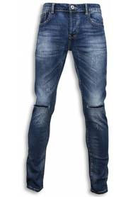 Basic Jeans Damaged Knee Regular Fit