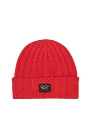 Ribbed wool hat with front logo