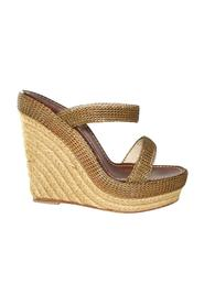 Gold Wire Strappy Wedges -Pre Owned Condition Very Good