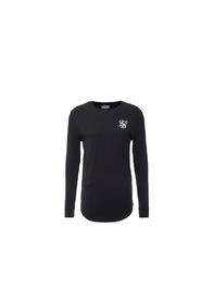 Sort Siksilk Long Sleeve Gym Tee T-Skjorte