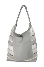 Striped Fabric & Leather LARGE Flap TOTE