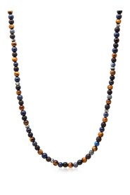 Men's Beaded Necklace with Blue Dumortierite, Brown Tiger Eye, Ebony and Silver Beads