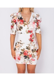 Floral Print Puffed  Bodycon Mini Dress