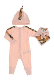 Three piece set Cap Bandana  with snap buttons Sleepsuit with front zipper