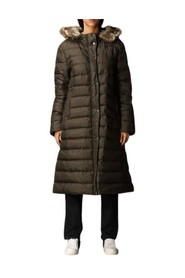 Long down jacket with hood and detachable fur closure with double-slider zip and buttons