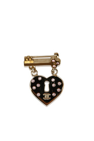 CC Heart Lock and Key Brooch