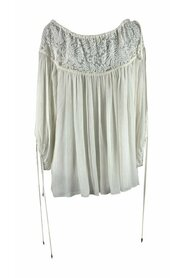 White Silk Oversized Lace Blouse Top Size 36 FR