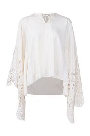 Blouse with Eyelet Flared Sleeve