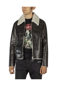 Leather jacket with wool lining