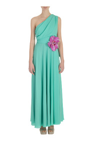 ONE SHOULDER LONG DRESS WITH FLOWER