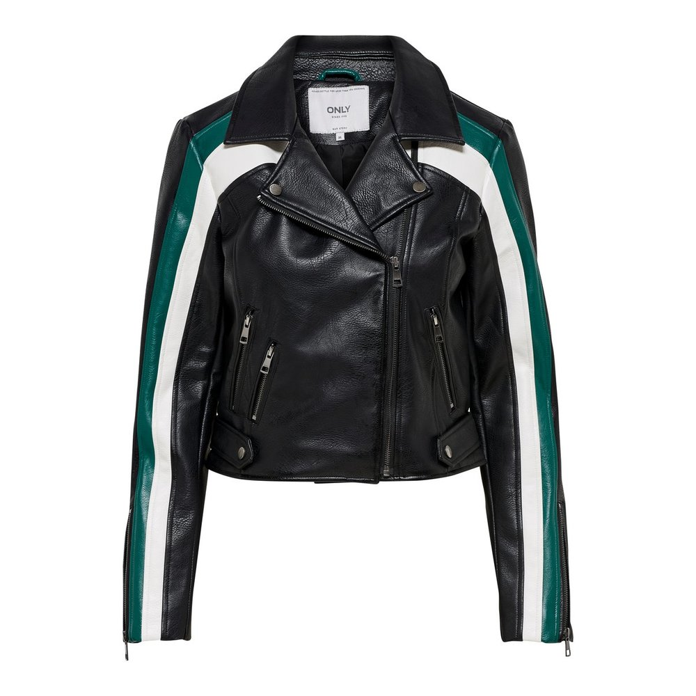 Faux Leather Jacket Biker kontrast