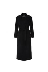 Manteau long noir ceinturé laine cachemire