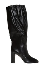 Ruched knee-high boots