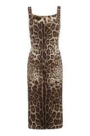 Charmeuse Calf-Length Dress With Leopard Print