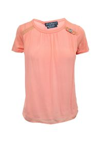 Coral SilkTop with Iconic Bow