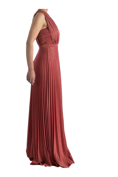 DiveDivine Coral DRAPED LONG SHOULDER DRESS Gallakjoler - Pink