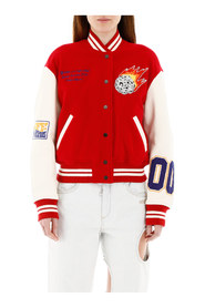 Varsity bomber jacket with patches