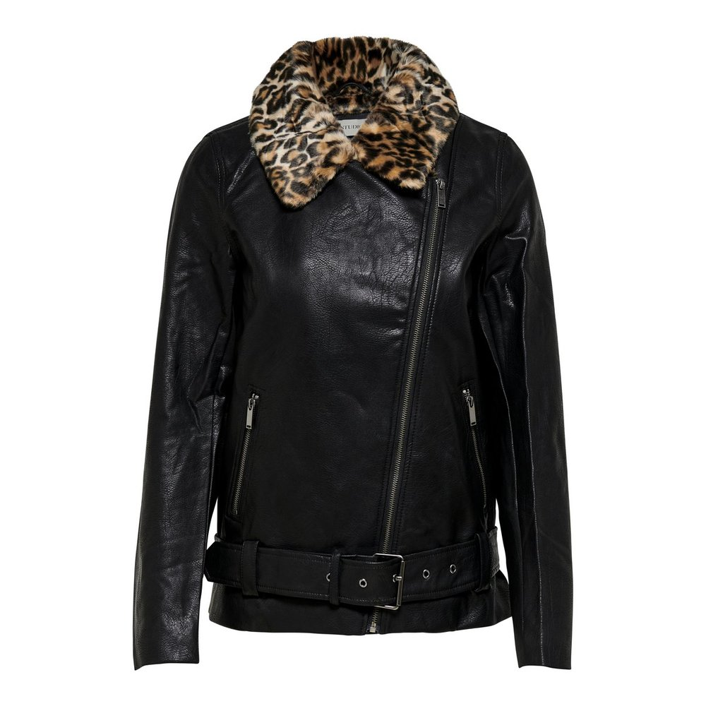 Faux Leather Jacket Leopard