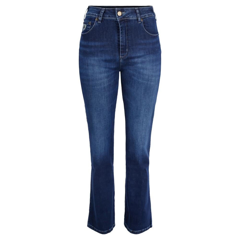 Denim blue Baggy jeans with piping  Karostar  Straight Leg Jeans - Dameklær er billig