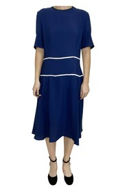 Short sleeved midi dress with two white stripes around middle