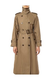 double-breasted trench cape on the back sleeves with windproof strap