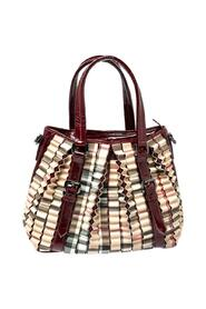 Pre-owned House Check PVC and Patent Leather Cartridge Pleat Tote