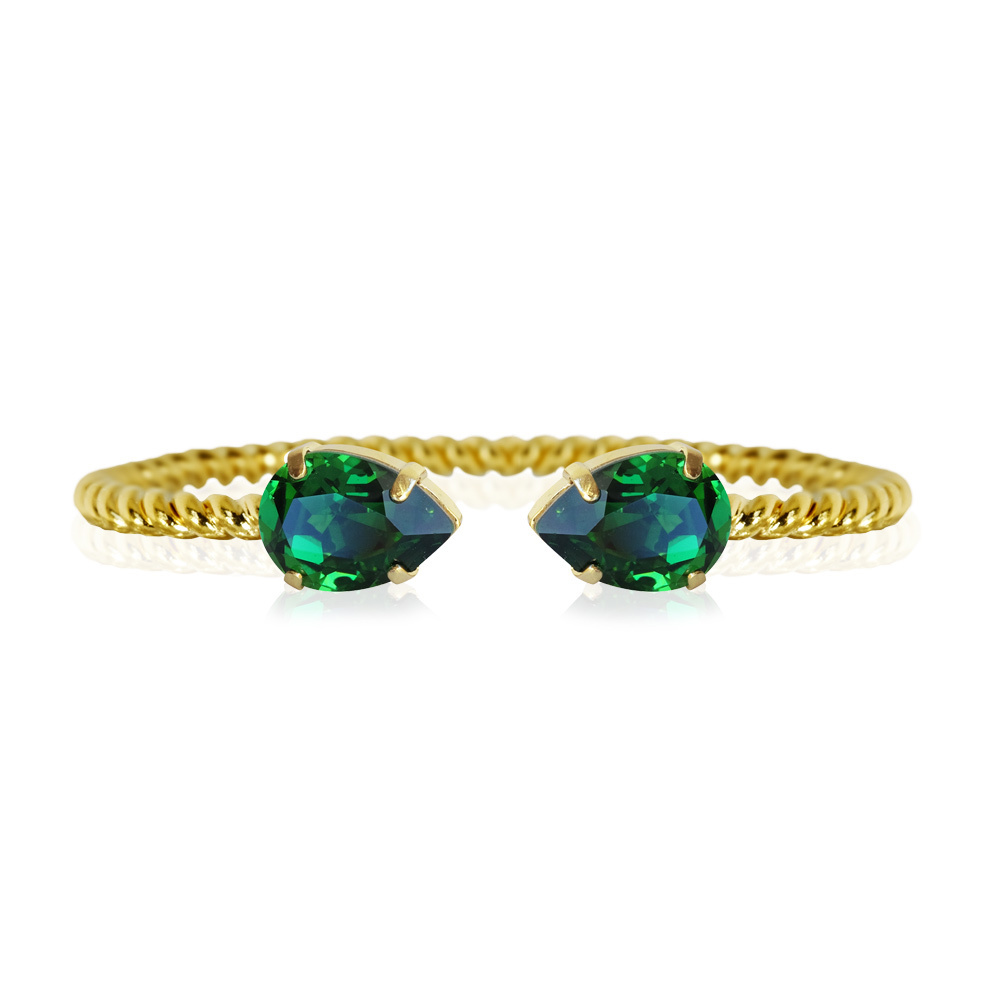 Caroline Svedbom Mini Drop Bracelet moss green gold