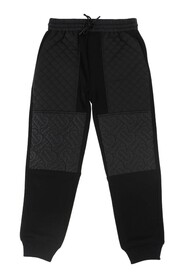 Jogging pants terry effect Diamond quilted panels  logo Drawstring waistband