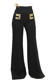 Flared trousers with embroidered logo