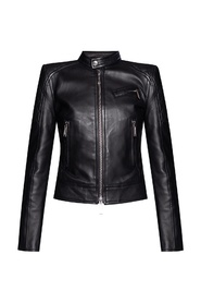 Leather jacket with stitching details