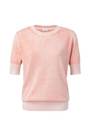 Cotton washed sweater with half sleeves